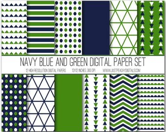 navy blue and green modern digital scrapbook paper with geometric patterns