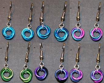 Colorful Mobius Earrings- Cool Colors