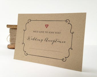 Wedding Acceptance Card, Wedding Reply Card, RSVP Card