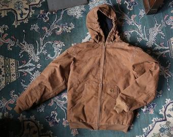 Vintage 80s workwear rustic brown duck jacket Hood lined zip up distressed Carhartt / jean coat Carhartt medium Mens Gray