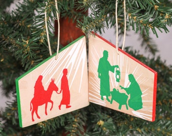 Nativity Manger Christmas Ornament - religious wood hand-painted with Mary, Joseph, and baby Jesus in the manger