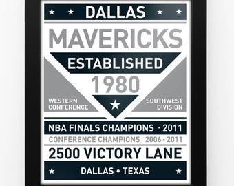 Dallas Mavericks Black & White Modern Team Print Framed