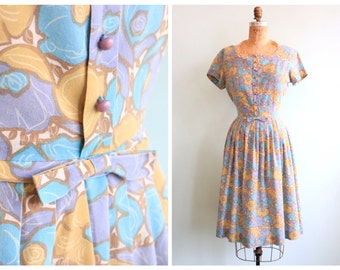 Vintage 1950's Pastel Floral Day Dress | Size Medium