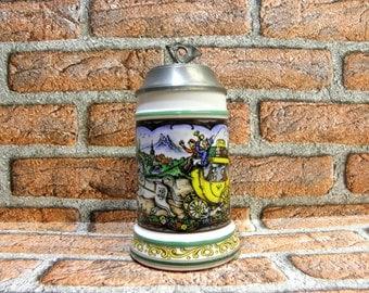 Vintage Original BMF Bierseidel German Beer Stein, Musical Lidded Beer Steins, Rein- Zinn BMF West Germany, Gift for Man Cave, zografa