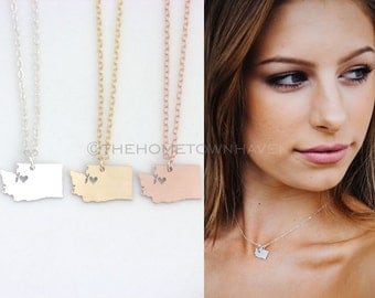 Washington State Necklace - I heart Washington necklace, Washington necklace