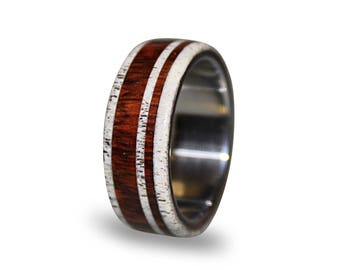 Titanium Wedding Band with Cocobolo Wood and Antler Inlay, Wood Ring, Antler Ring, Mens Engagement Ring, Womens Ring, Mens Wood Band
