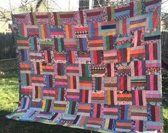 Vintage scrap handmade quilt