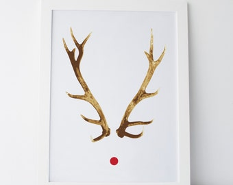 "Printable Art ""Rudolph"" Christmas Art Christmas Prints Christmas Decor Wall Decor Holiday Decor Holiday Prints Reindeer Art"