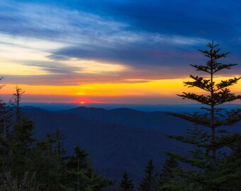 Great Smoky Mountains National Park Sunset, Fine Art Print, Blue Ridge Mountains, Tennessee Art, Wall Decor, North Carolina Art, Appalachian