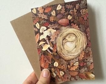 Dormouse blank greeting card -autumn woodland