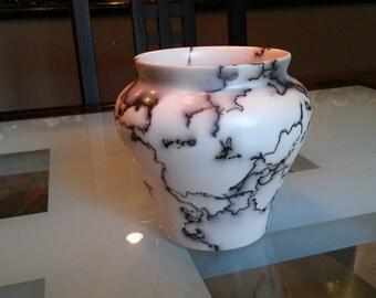 Hand thrown, terra sig'd and horsehair raku'd vase