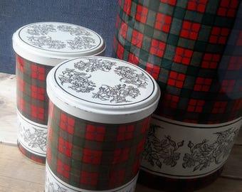 3, kitchen tins, Tomado, Vooraadblikken, Scottish window, Tartan Tin, mid century home decor, storage cans red, Christmas gift, Christmas decoration