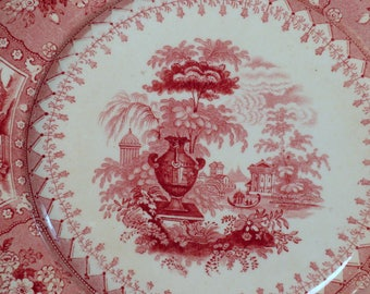 English Transferware Plate, Red Staffordshire, Romantic Staffordshire c.1830, Antique English China,  Old English Cottage,  Vintage Dining