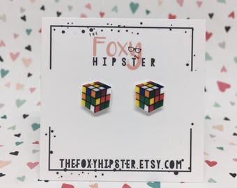 Rubik's Cube Stud Earrings
