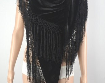 Classic black velvet scarf, high-grade flocking silk shawl 140 cm * 140 cm, square hang su shawl