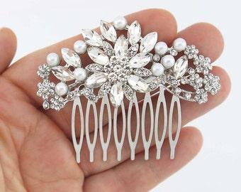 Bridal Comb, Pearl Hair Comb, Bridal Headpieces, Wedding Hair Accessory, Crystal Pearl Hair Pin, Rhinestone Hair Combs