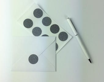Charcoal Glitter Circle Stickers - Envelope Seals - Pack of 24