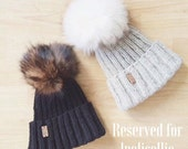 RESERVED for lpolicellie - Wool Childrens Winter Hat with Fur Pom Pom