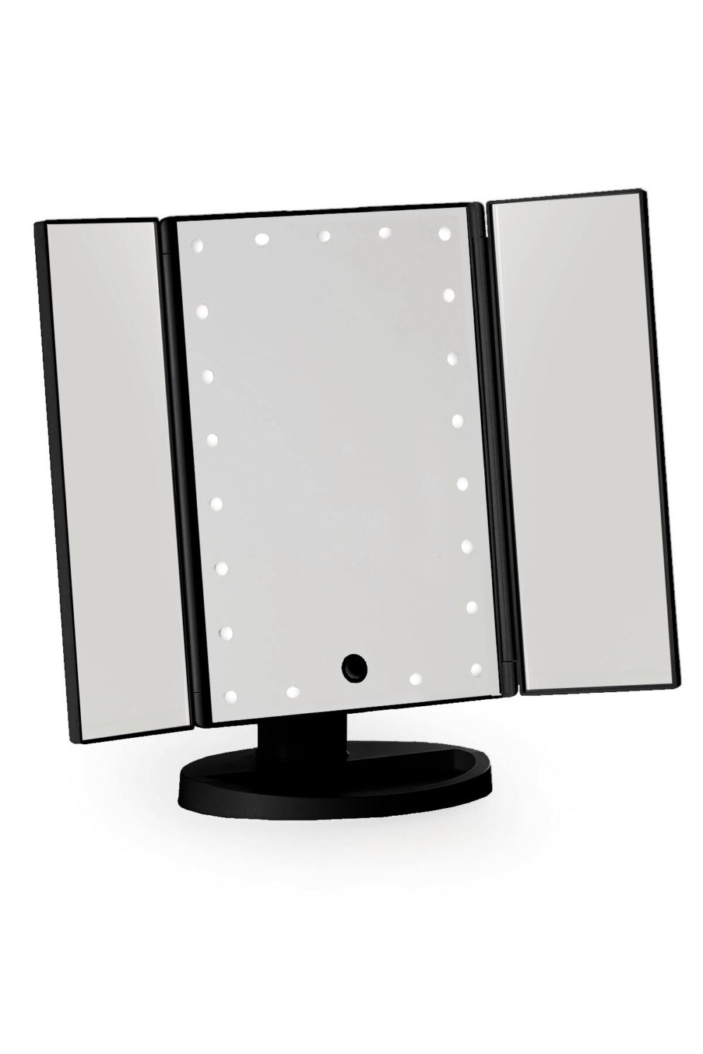 Black Three Way Vanity Mirror Led Lights With Folding Mirror