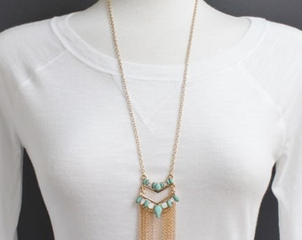 """gold turquoise necklace medallion pendant necklace 26"""" long double chain statement fringe super extra long sweater length"""