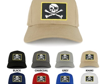 Jolly Rogers Military Skull Embroidered Iron on Patch Adjustable Baseball Cap (27-079-PM507)