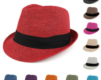 Colorful Straw Fedora Hat with Black Pleated Band (HT5143)
