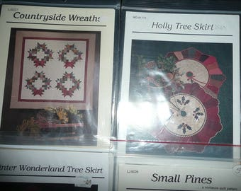 Thimbleberries Winter Wonderland Tree Skirt,Countryside Wreaths, Small Pines, Holly Tree , Sleigh Ride Skirt ,Stockings Patterns