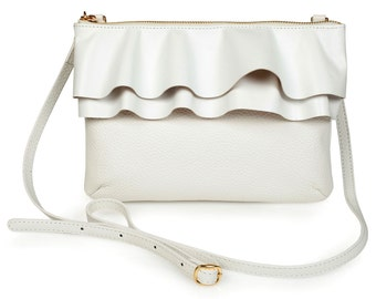 Leather Crossbody Bag, White Leather Shoulder Bag, Women's Leather Cross body Bag, Leather bag KF-794