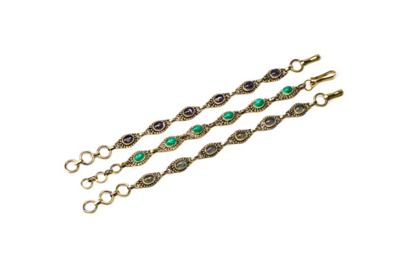 Dainty Amethyst,  Malachite, Labradorite Gemstone Brass Bracelet Adjustable Gift Boxed + Giftbag + Free UK Delivery