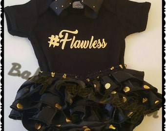 Custom onsie with coordinating   ruffled diaper cover and matching bow