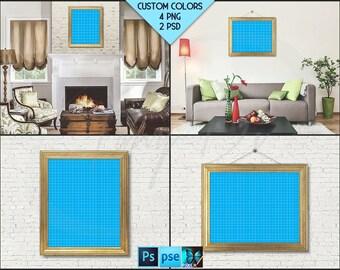 8x10 Frame Mockup #RW1 | Golden Portrait Landscape Unmatted Frame, Living Room, White Bricks, Photoshop, Mock-up, PNG scene, Blank frame