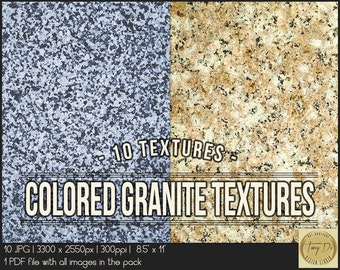 Colored Granite Textures | 8.5x11 Printable Digital Papers | Set of 10 Textured Scrapbook Papers | Digital scrapbook | Photo Paper overlays