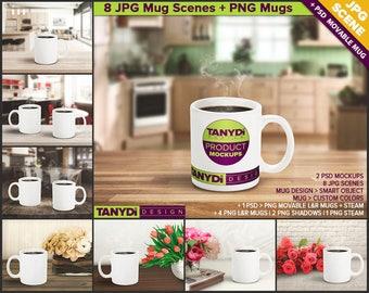 11oz Coffee Mug with Steaming Coffee Photoshop Styled Mockups   White Mug on Wood Kitchen Table   Flowers   8 JPG scenes