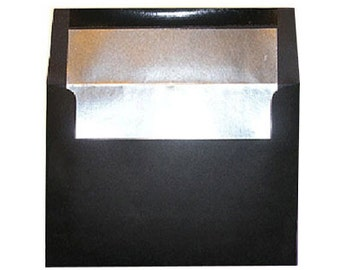 20 Black with Silver Foil Lined Envelopes - A7 Size