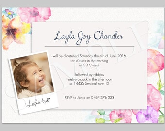 Watercolor Invitation, Christening/Dedication/Babtism Invite, Baby dedication, Polaroid Photo, Flowers, Pink