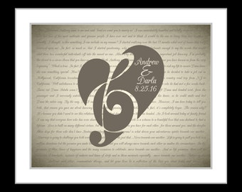 Paper anniversary gift, personalized heart, anniversary, gifts for men, him her, song lyrics vows art print, wedding gift, paper anniversary