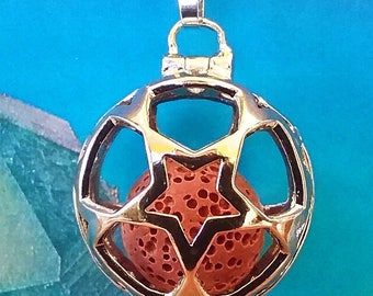 Genuine Volcanic Lava Stone Oil Diffuser Star PENDANT With VITALITY or RELAXING Oil Vial, Choose Red, Black, Yellow, Turquoise