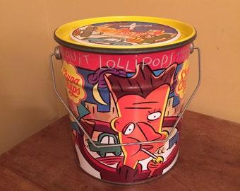 1995 First Edition Chupa Chups Tin Pail/Vintage Chupa Chups Tin/Chupa Chups Collector Tin