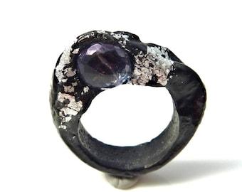Black and silver topaz resin  ring- porcelain like resin ring- black minimalistic blue topaz ring- silver leaf ring-size 11 topaz ring