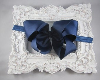 NEW OTT over the top navy blue 6 inch hair bow stretch headband
