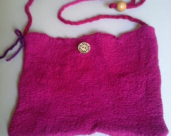 Lovely pinky purple nuno felted shoulder bag.