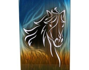 Horse Painting Aluminum Art Panel, gift for her, modern farmhouse art, running horse art, modern horse art, lobby wall art, horse metal art