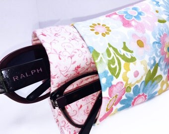 Pink Floral Double Glasses Case, Double Eyeglass Pouch, Quilted Sunglass Case, Eyeglasses Case, Twin Glasses Pouch