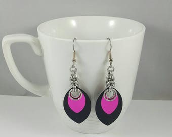 Pink and Black Scale Maille Earrings