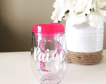 Personalized Stemless Wine Tumbler Lilly Inspired, Bev2go, Custom Monogrammed Acrylic Tumbler