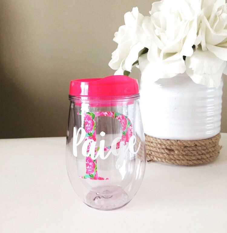 personalized stemless wine tumbler lilly inspired bev2go