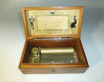 Antique Swiss Music Box 52 Keys Play 6 Songs (Rare) Plays Wedding March And More Watch The Video To Hear It Play
