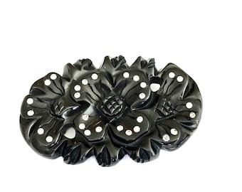Carved Bakelite Flower Brooch, Rhinestones, Oval Shape, Cross Hatch Design, Vintage  Art Deco 1930's, Bakelite Jewelry
