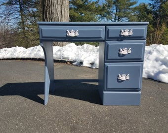 Hand Painted Vintage Desk / Vanity - LOCAL PICKUP / DELIVERY Only