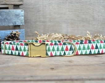 Nordic Pine Christmas Dog Collar, Christmas Dog Collar, Trees Dog Collar, Nordic Dog Collar, Male Collar, Female Collar, Gold Metal Buckle